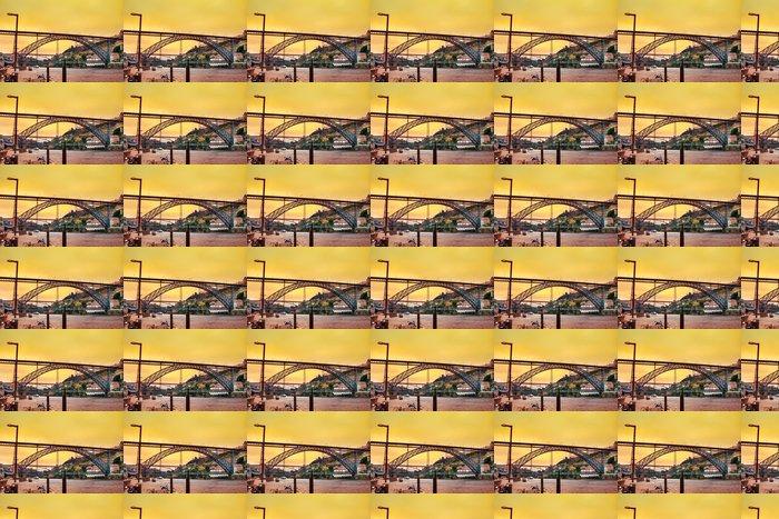Vinylová Tapeta Úžasný západ slunce nad Dom Luis most v portugalském Portu - Evropa