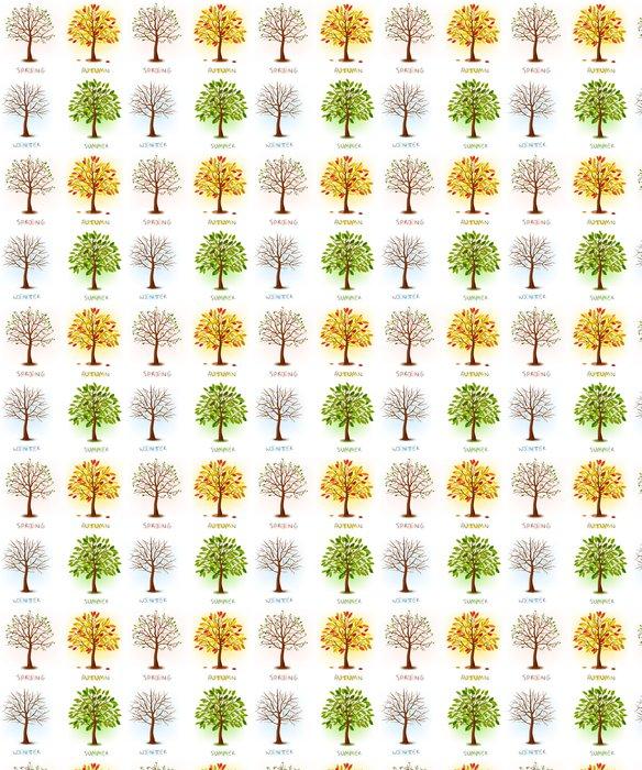 Vinylová Tapeta Čtyři roční období - jaro, léto, podzim, zima. Umění stromy - Nálepka na stěny
