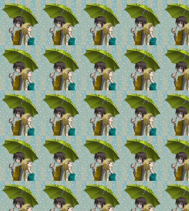 Vinylová Tapeta Roztomilý chlapec a dívka s deštníkem a pěkné pozadí - Témata