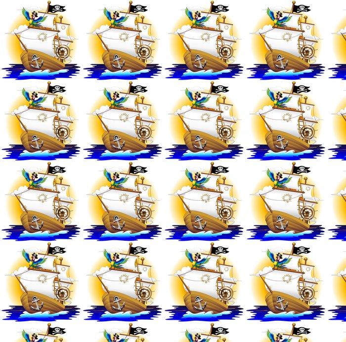 Vinylová Tapeta Pappagallo Pirátská loď s Pirátská loď, a Cartoon papoušek - Lodě