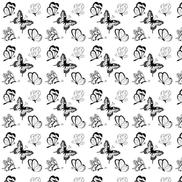 Vinylová Tapeta Nastavit černá bílá motýly tetování - Nálepka na stěny