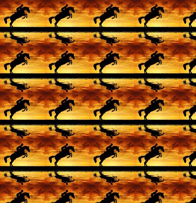 Vinylová Tapeta Silueta jezdce na koni skákání - Savci