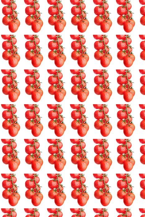 Vinylová Tapeta Cherry rajčata na větvi s kapkami na bílém - Témata
