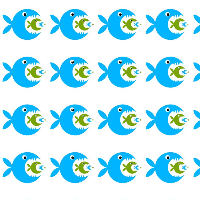 Vinylová Tapeta Funny ryby karikatura pro svůj design - Nálepka na stěny