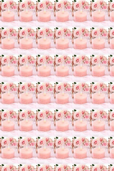 Vinylová Tapeta Krásná svíčka s květinami na bílé látky, zblízka - Květiny