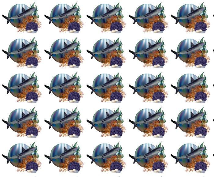 Vinylová Tapeta Podvodní svět banner s žraloka, vektorové ilustrace - Pozadí