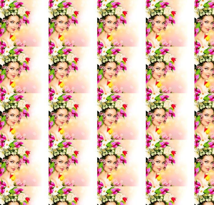 Vinylová Tapeta Jarní žena. Krása modelu dívka s barevnými květy účes - Osud