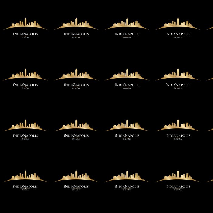 Indianapolis Indiana city skyline silhouette black background Vinyl Wallpaper - America