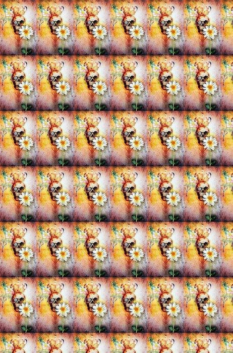Vinylová Tapeta Graffiti stěna s králem lebky a svatou květinou - Ezoterika