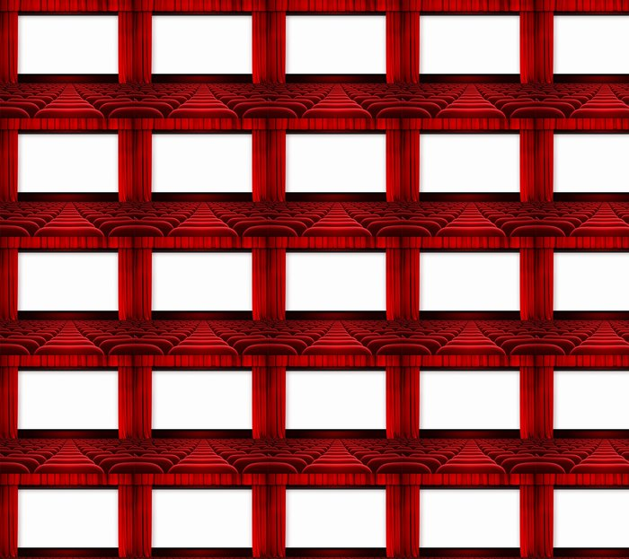 Vinylová Tapeta Kino displej s otevřenou oponou a červených křesel - iStaging