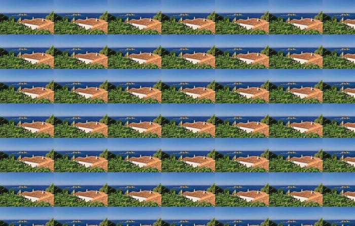 Vinylová Tapeta Řecké vesnice střechy s výhledem na Egejské moře - Evropa