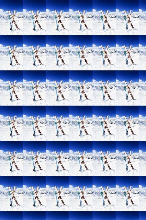 Vinylová Tapeta Lyžování, hory a lyžařské vybavení na sjezdovky - Snowboard a lyžování