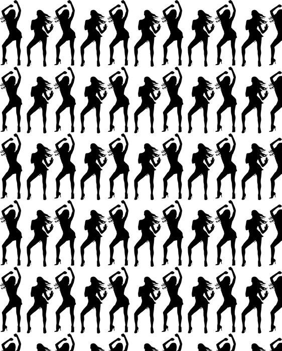 Vinylová Tapeta Siluety tančících žen - Žena