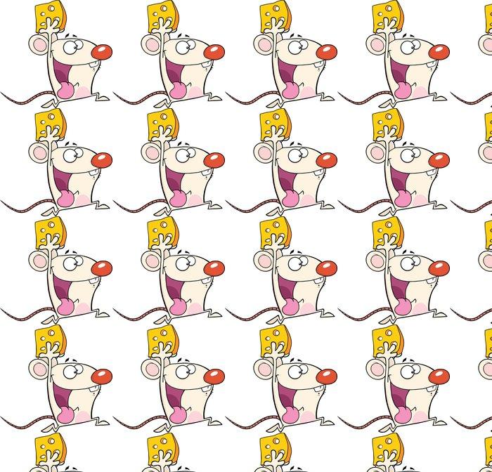 Vinylová Tapeta Šťastný White Mouse Cartoon Maskot Character Running With Cheese - Savci