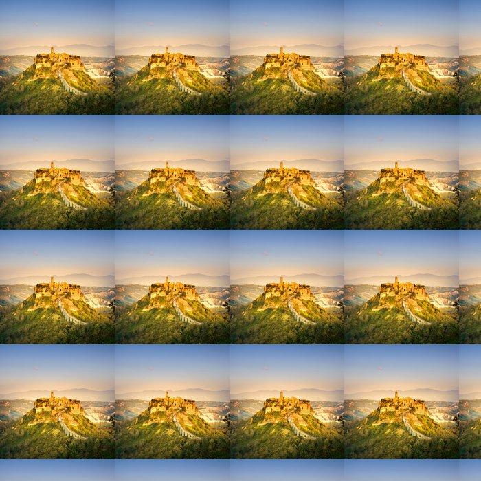 Vinylová Tapeta Civita di Bagnoregio mezník, letecký pohled na západ slunce. Itálie - Evropa