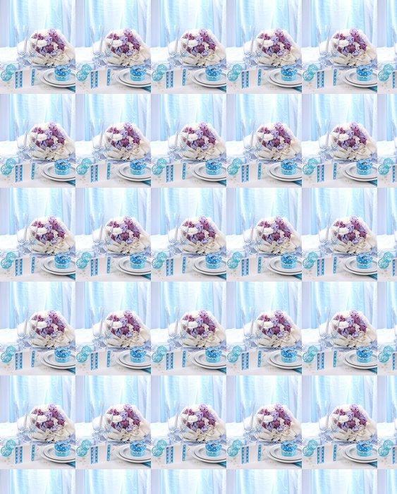 Vinylová Tapeta Servírovací výjimečný svatební stůl v modré barvě - Alkohol