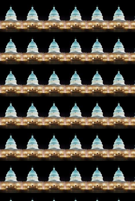 Vinylová Tapeta Capitol Hill Building s nočním osvětlením, Washington DC - Americká města