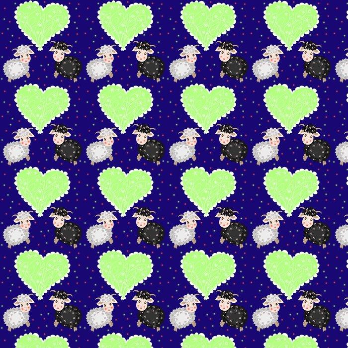 Vinylová Tapeta Vánoční karta s roztomilou ovcí a srdce na fialové pozadí - Osud