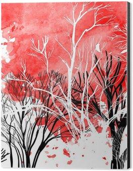 Impressão em Alumínio (Dibond) Abstract silhouette of trees