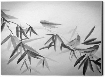 Impressão em Alumínio (Dibond) Bambu e três birdies ramo
