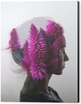 Impressão em Alumínio (Dibond) Dupla exposição criativa com o retrato da rapariga e as flores