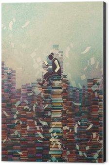 Impressão em Alumínio (Dibond) Homem lendo o livro ao sentar-se na pilha dos livros, conceito conhecimento, pintura ilustração