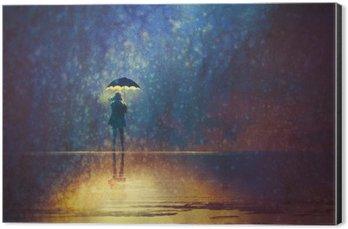 Impressão em Alumínio (Dibond) Mulher solitária sob luzes de guarda-chuva na pintura escura, digital, arte