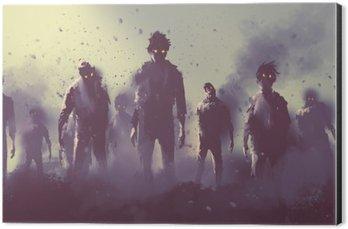 Impressão em Alumínio (Dibond) Multidão de zumbis andando à noite, conceito de Halloween, pintura ilustração