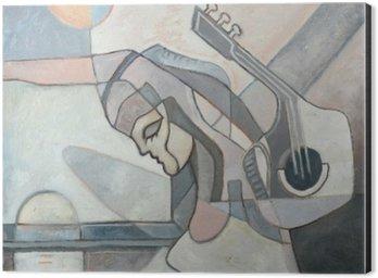 Impressão em Alumínio (Dibond) Pintura abstrata com Mulher e guitarra