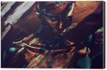 Impressão em Alumínio (Dibond) Retrato da mulher em pinturas coloridas escuras