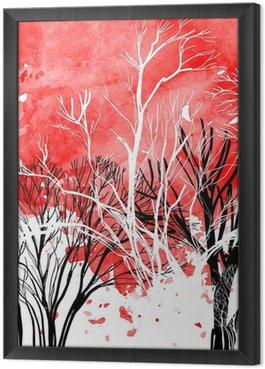Abstrakt silhuet af træer Indrammet Fotolærred