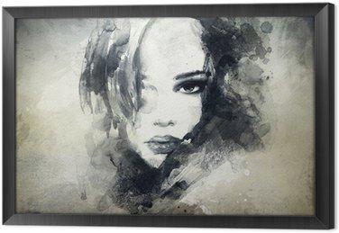 Ingelijst Canvas Abstract vrouwenportret