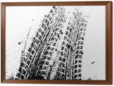 Ingelijst Canvas Achtergrond met grunge zwarte banden track, vector