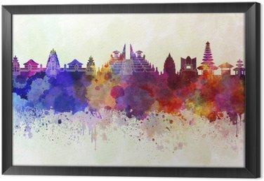 Ingelijst Canvas Bali skyline in aquarel achtergrond