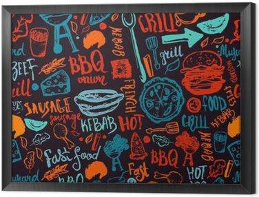 Ingelijst Canvas BBQ Barbecue Grill Doodle naadloze patroon. Kleurrijke BBQ ontwerp met de hand getekende letters voor het verpakken, banners en promotie.