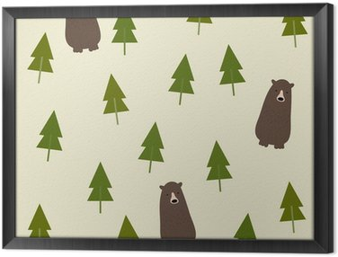 Ingelijst Canvas Bear and forest seamless background.