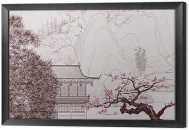 Ingelijst Canvas Chinese landschap