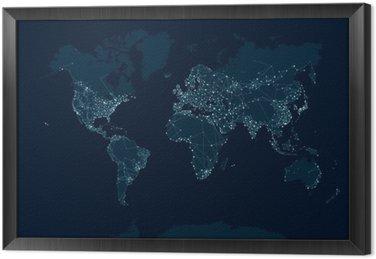 Ingelijst Canvas Communicatienetwerk kaart van de wereld
