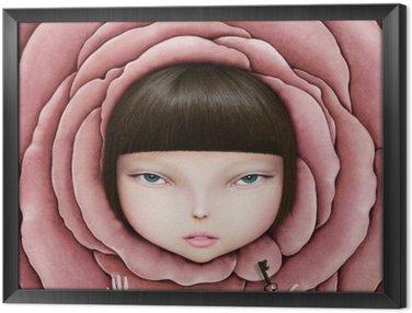 Ingelijst Canvas Conceptuele illustratie of poster met het hoofd van het meisje in roze bloemblaadje met de sleutel in zijn hand.