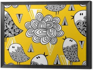 Ingelijst Canvas Creatieve naadloze patroon met doodle vogel en design elementen.