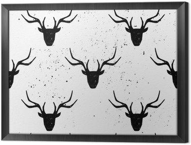 Ingelijst Canvas Deer Head Silhouette Seamless Pattern