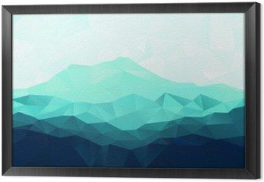 Ingelijst Canvas Driehoek geometrische achtergrond met blauwe bergen
