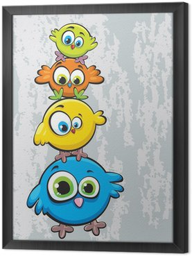 Ingelijst Canvas Familie van vogels