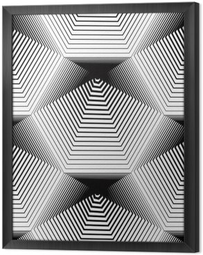 Ingelijst Canvas Geometrische zwart-wit gestreept naadloze patroon, zwart en wit ve