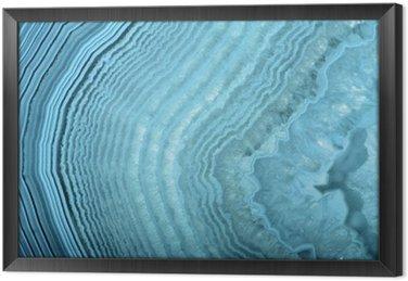 Ingelijst Canvas Golven in lichtblauwe agaat structuur