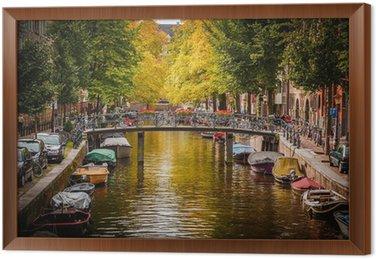 Ingelijst Canvas Gracht in Amsterdam