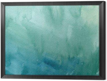 Ingelijst Canvas Hand getrokken turkoois blauw, groen aquarel abstracte verf textuur. Raster gradient splash achtergrond.