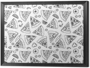 Ingelijst Canvas Hand getrokken vector naadloos patroon - pizza. Soorten pizza: Pepperoni, Margherita, Hawaiian, Mushroom. schets stijl