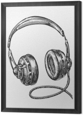 Ingelijst Canvas Handgetekende uitstekende hoofdtelefoons. Schets muziek. vector illustratie