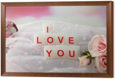 Fotobehang kaarsen met gedrukte teken i love you op lichte ingelijst canvas kaarsen met gedrukte teken i love you op lichte achtergrond voltagebd Images
